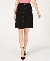 a5b7ee5a23015 Nine West Button-Front Faux-Pocket A-Line Skirt