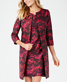 Kasper Printed Open-Front Long Jacket