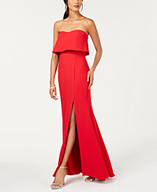 XSCAPE Strapless Popover Evening Gown