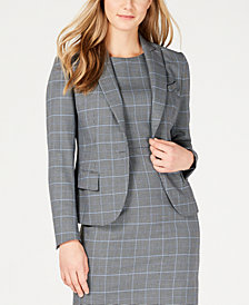 Anne Klein Plaid Peak-Lapel Jacket