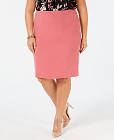 Nine West Plus Size Back-Vent Pencil Skirt