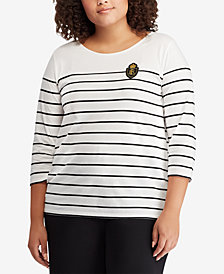 Lauren Ralph Lauren Plus Size Crest Striped Top