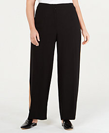 Eileen Fisher Plus Size Silk Tuxedo-Stripe Pants