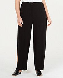 Eileen Fisher Plus Size Silk Tuxedo-Stripe Pants