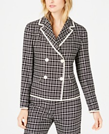 Weekend Max Mara Ocroma Plaid Double-Breasted Blazer