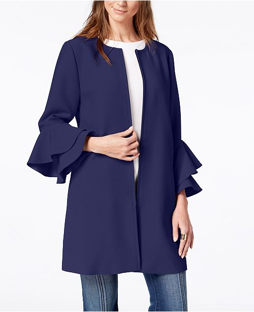 Petite Flared-Sleeve Collarless Jacket, Created for Macy's