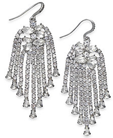 I.N.C. Silver-Tone Crystal Chain Drop Earrings, Created for Macy's