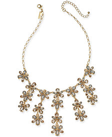 """I.N.C. Gold-Tone Crystal Flower Statement Necklace, 17"""" + 3"""" extender, Created for Macy's"""