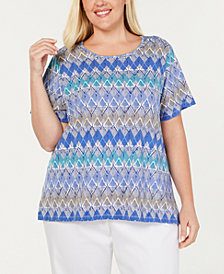 Alfred Dunner Plus Size Turtle Cove Zig-Zag Top