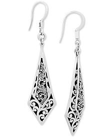 Lois Hill Scroll Work & Filigree Drop Earrings in Sterling Silver