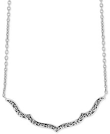 "Decorative Scroll 16"" Statement Necklace in Sterling Silver"