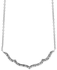 """Lois Hill Decorative Scroll 16"""" Statement Necklace in Sterling Silver"""