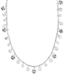 "Lois Hill Filigree Dangle Disc 15"" Collar Necklace in Sterling Silver"