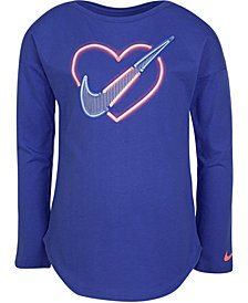 Nike Toddler Girls Neon Heart-Print Cotton T-Shirt