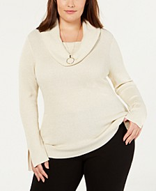 Plus Size Metallic Cowlneck Sweater