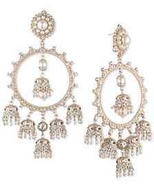 Marchesa Gold-Tone Cubic Zirconia & Imitation Pearl Orbital Chandelier Earrings