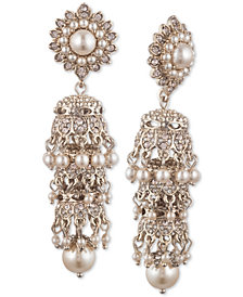 Marchesa Gold-Tone Cubic Zirconia & Imitation Pearl Tiered Linear Drop Earrings