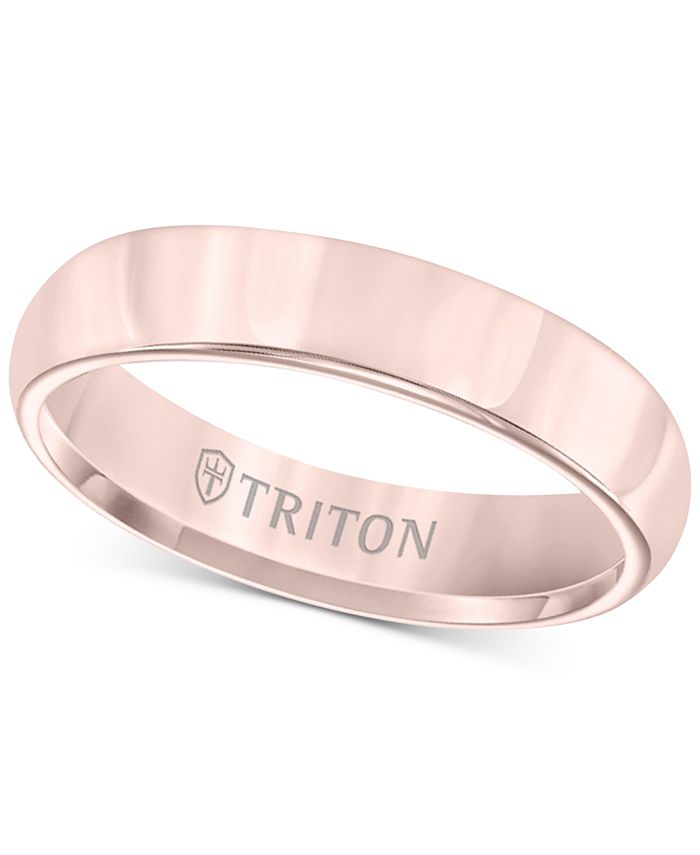 Triton - Domed Comfort Fit Band in Rose Tungsten Carbide