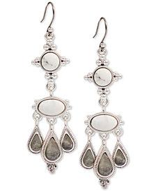 Lucky Brand Silver-Tone Stone Drop Earrings