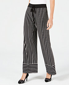Alfani Striped Tie-Waist Wide-Leg Pants, Created for Macy's