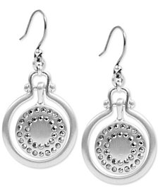 Lucky Brand Silver-Tone Pavé Orbital Drop Earrings