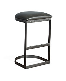 "Tahoe 30""H Black Metal Stool, Black Cushion Seat"