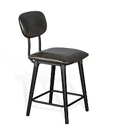 """24""""H Black Barstool, Cushion Seat"""