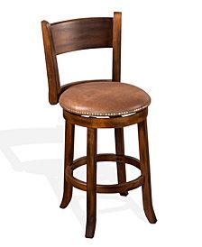 """Santa Fe 24""""H Dark Chocolate Swivel Barstool, Cushion Seat"""