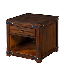 Santa Fe Dark Chocolate End Table, Distressed Metal Accents