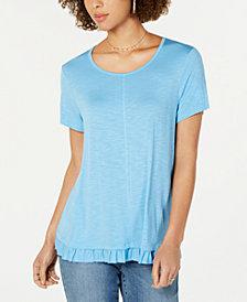 Style & Co Ruffle-Hem T-Shirt, Created for Macy's