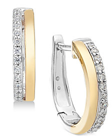 Diamond Two-Tone Hoop Earrings (1/4 ct. t.w.) in 14k Gold & White Gold
