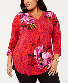 JM Collection Plus Size Print Zip Top, Created for Macy's
