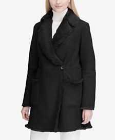 Calvin Klein Wrap-Front Shearling Coat