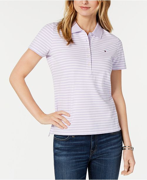 1eb86927 Tommy Hilfiger Striped Piqué Polo Top, Created for Macy's & Reviews ...