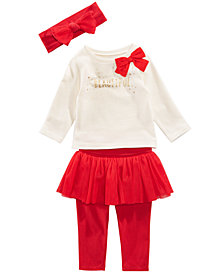 First Impressions Baby Girls Bow Headband, Bow Sweatshirt & Tutu Leggings, Created for Macy's