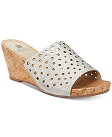 White Mountain Atlie Embellished Wedge Sandals, Created for Macy's