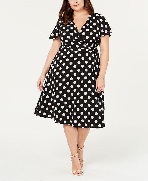33125dae7b7 Jessica Howard Plus Size Polka-Dot Fit   Flare Dress   Reviews ...