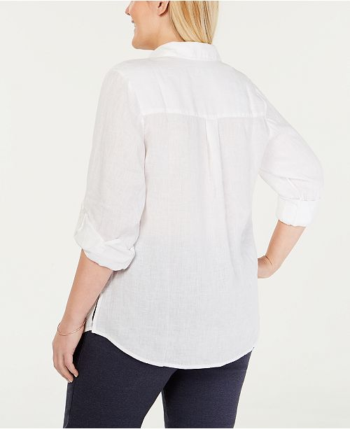 198e67fd2d56be Charter Club Plus Size Linen Utility Shirt