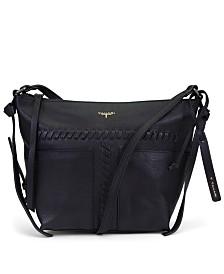 T Tahari Skyler Leather Whipstitch Top Zip Crossbody