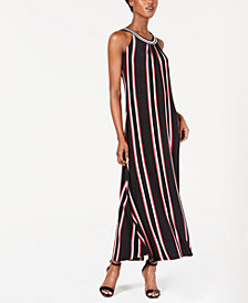 Calvin Klein Striped Halter Maxi Dress