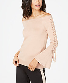 Thalia Sodi Lace-Up Off-The-Shoulder Sweater, Created for Macy's
