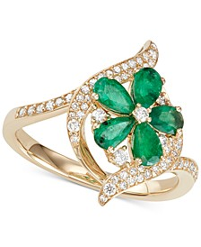 Sapphire (1-1/2 ct.t.w.) & Diamond (1/3 ct. t.w.) Ring in 14k White Gold (Also in Emerald & Certified Ruby)