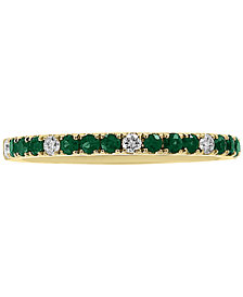 EFFY® Emerald (1/4 ct. t.w.) & Diamond (1/10 ct. t.w.) Band in 14k Gold