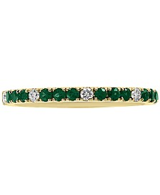 EFFY® Emerald (1/4 ct. t.w.) & Diamond (1/10 ct. t.w.) Band in 14k Gold