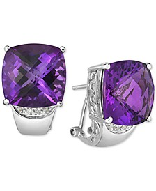 Amethyst (18 ct. t.w.) and Diamond (1 ct. t.w.) Clip-On Earrings in Sterling Silver