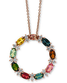 "EFFY® Multi-Tourmaline (2-1/10 ct. t.w.) & Diamond (1/4 ct. t.w.) 18"" Circle Pendant Necklace in 14k Rose Gold"