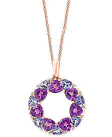 "EFFY® Multi-Gemstone (4-1/4 ct. t.w.) & Diamond Accent Wreath 18"" Pendant Necklace in 14k Rose Gold"