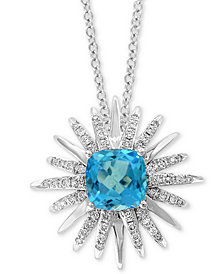 "EFFY® Blue Topaz (3-1/5 ct. t.w.) & Diamond (3/8 ct. t.w.) Starburst 18"" Pendant Necklace in 14k White Gold"