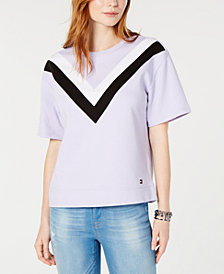 Tommy Hilfiger Short-Sleeve Chevron-Stripe Top, Created for Macy's