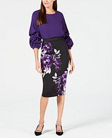 Alfani Gathered Balloon-Sleeve Top & Printed Scuba Skirt, Created for Macy's